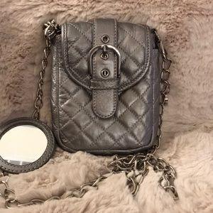 Maxx New York Leather/Chain Silver Crossbody Bag